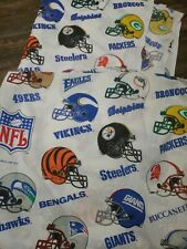 New listing Vintage 90s 1995 Nfl Helmets Sheets Fitted and Flat Twin Size Fabric crafts bed