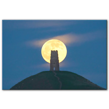 Glastonbury Tor St Michael's Tower Full Moon Wolf Moon 2020|Canvas Print|5 Sizes
