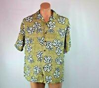 Vintage Iolani 100% Rayon Hawaiian Floral Tiki Aloha Shirt  Size Large USA MADE