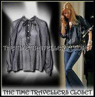 BNWT KATE MOSS TOPSHOP Charcoal Grey Silk Self Striped Shirt Blouse UK 12 40 8 +