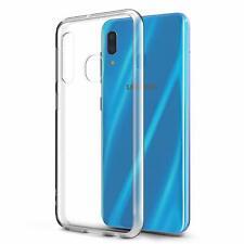 For Samsung Galaxy A20 Crystal Clear / Black Soft TPU Slim Skin Case Cover