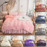 Doona Quilt Cover Set Luxury Plush Shaggy Duvet Faux Fur Home Pillow Case Sheet