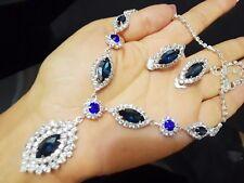Silver Blue Crystal Rhinestone Marquise Wedding Necklace Earrings Set Bridal
