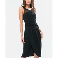 B YOUNG ASOS  PARTIENE ILLUSION NECK PLEATED BLACK DRESS SIZE 40 US 10