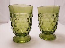 Vintage Green Fostoria Small Juice / Water Glasses - set of 2