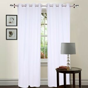 White Velvet 2Pc Curtain/Drapes Solid Grommet Panel Room Darkening Door / Window