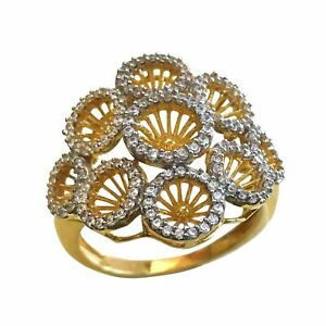 22 Kt Real Solid Yellow Gold Ring Engagement Wedding Women'S CZ ring 5.520 Grams