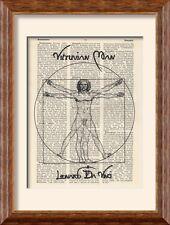 ART PRINT-LEONARDO DA VINCI-Vitruvian Man SU LIBRO ANTICO pagina-VINTAGE