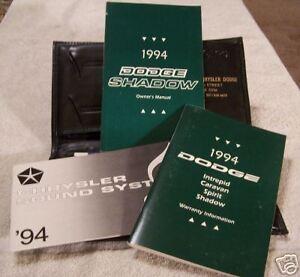 **LOOK** 1994 Dodge Shadow Owners Manual Set 94