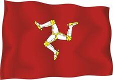 1x ISLE OF MAN UK STICKER WAVING FLAG BUMPER decal