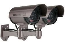 2 X realista falso maniquí seguridad CCTV cámara intermitente Led Indoor Outdoor Plata