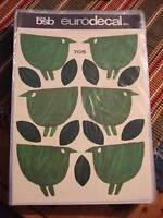 Vintage Retro BSB EURODECAL TRANSFER Green Birds/Leaves