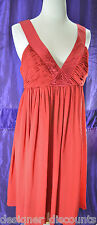 NEW London Times RED flowing sexy V neck satin fun casual dinner dress SIZE 14