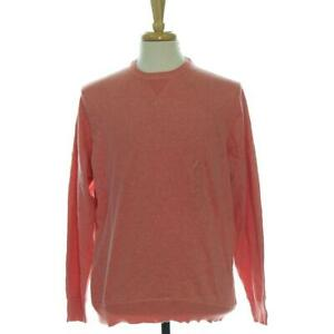 Club Room Mens L Knit Sweater Peach Berry Heather Colored Top Long Sleeve