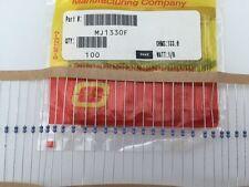 (100 pcs) MJ1330F Ohmite, 1/8 Watt  133 Ohm  1%, Metal Film Resistor (Axial)