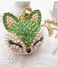 Betsey Johnson Necklace Green Fox  Crystal Beautiful Unique Gift Bag 550