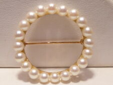 Stunning 14k Solid Gold Pearl Round  Brooch Pin Unique Fabulous Vintage