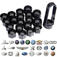 20x Black Wheel Nut Caps Bolt Covers Audi VW Vauxhall Bmw Mercedes Renault 17mm