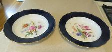 Meissen Cobalt Blue Gold Rim Flowers Soup Plates Bowls Scalloped Crossed Swords
