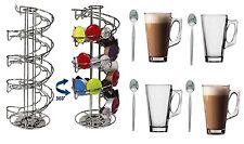 Girevole DOLCE gutso Caffè Pod Supporto + 4 bicchieri da latte macchiato gratuita + 4 cucchiai