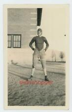 Photo 1930's Young Man Teen Boy in Football Uniform Leather Helmet