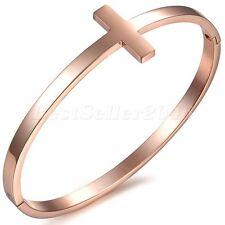 Bracelet Poignet Femme Croix Simple Chaîne de Main Acier Inoxydable Rose Or