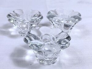 Lot of Three Vintage Heavy Molded Glass Flower Shaped Taper Candle Holders *READ