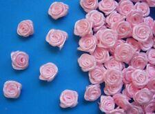 "3/8""(W) Pink Satin Polyester Mini Ribbon Roses Flowers DIY-100 Pcs-R0030K"
