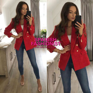 ZARA WOMAN NWT SS21 TEXTURED DOUBLE-BREASTED BLAZER ALL SIZES 2410/564