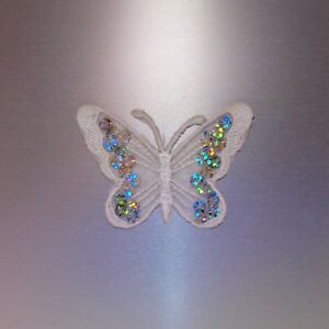 White Butterfly with Sequins Patch — Iron On Badge Embroidered Motif — Cute Fun