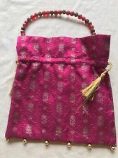 A Original Indian Samarra Silk Fuschia Potli Pouch Bag With Beaded Handle