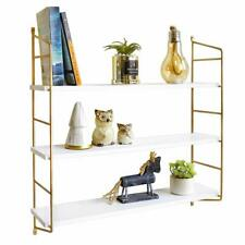White Floating Shelves 24 Inch 3 Tier Gold Wall Shelf for Bedroom Home Decorate