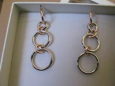 Authentic Fiorelli Silver & Rose Gold Plated Linked Hoop Drop Earrings. Bnib.