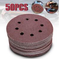 "50Pcs 5"" 8 Hole 80/120/180/240/320 Grit Sanding Disc Sandpaper Hook and Loop"