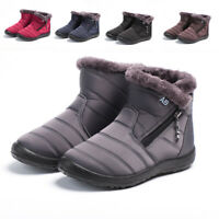 Womens Fur Lined Snow Ankle Boots Ladies Waterproof Shoes Non-slip Outdoor Wear