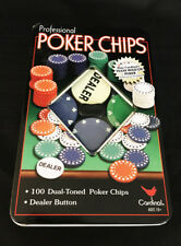 Cardinal Professional Poker Chips 100 Dual Toned w/ Dealer Button in Metal Tin