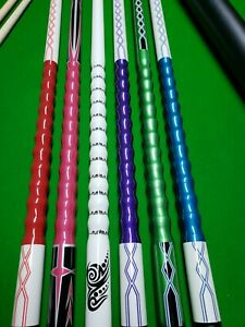 Pool Snooker choose Cue Colour Ribbed grip cue with 2 Shafts And hard tube Case