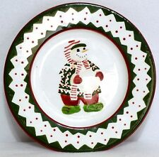 """BLOCK GEAR FATHER CHRISTMAS SNOW PEOPLE 8"""" SALAD PLATE - Snowman with Snowball"""