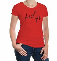 Damen Kurzarm Girlie T-Shirt Musikfrequenz-Saxophon Blasmusik Instrument Band