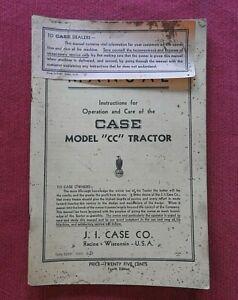 "1937 ORIGINAL CASE MODEL ""CC"" TRACTOR OPERATION & CARE MANUAL RARE & VERY GOOD"