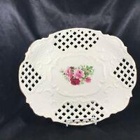 Vintage Porcelain Formalities by BAUM BROS Lace Rim Rose Platter B
