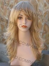 Straight Flip Flare out wig layers bangs Lite Golden Blonde mix HHJS 24-613