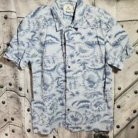 Solitude Mens Size Large Short Sleeve Shirt Hawaiian Hawaii Vacation Beach Blue