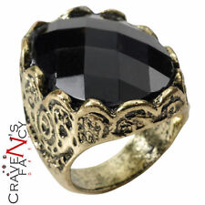Black stone ring game of thrones médiéval renaissance accessoire robe fantaisie neuf