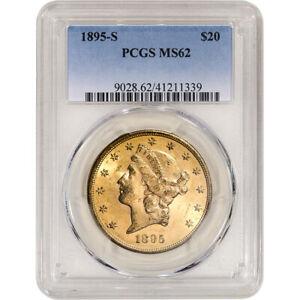 1895 S US Gold $20 Liberty Head Double Eagle - PCGS MS62