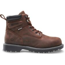 Work Boots Shoes Men Size 12M Dark Brown Full Grain Leather Waterproof Steel Toe