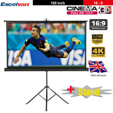 "100"" HD Projector Projection Screen with Tripod Stand Conference 3D Home Cinema"