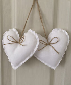 Handmade fabric Hanging Hearts 10.5 cm Set of 2 in White.