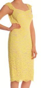 COAST ADELINE LEMON YELLOW NUDE LACE PENCIL DRESS 8 BNWT & SPARES £119
