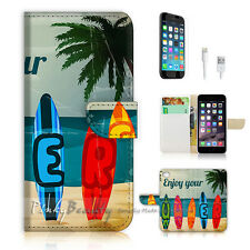 ( For iPhone 6 / 6S ) Wallet Case Cover! Skateboard on Beach P0496
